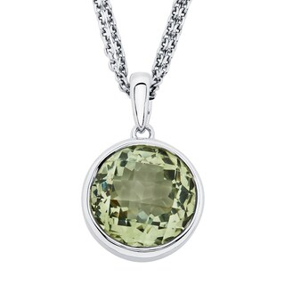 Boston Bay Diamonds Sterling Silver with 11x11mm Green Amethyst Pendant