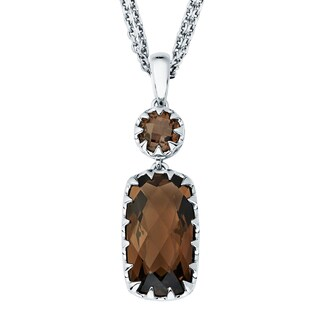 Boston Bay Diamonds Sterling Silver with 8x15mm Smoky Quartz Pendant