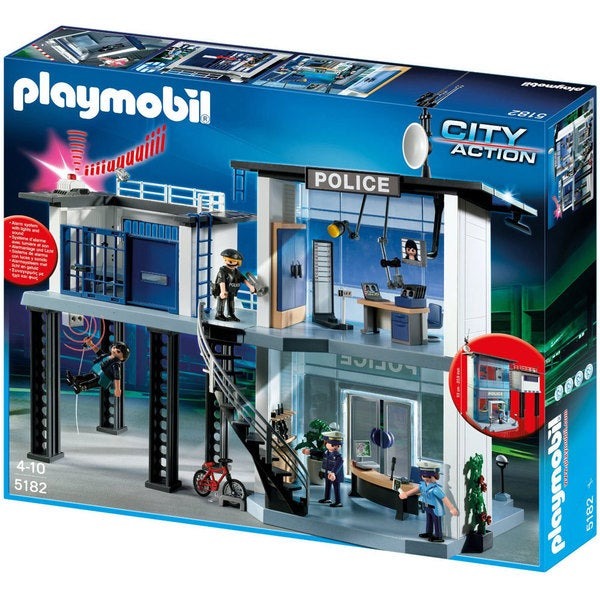 playmobil police station with electronic alarm system