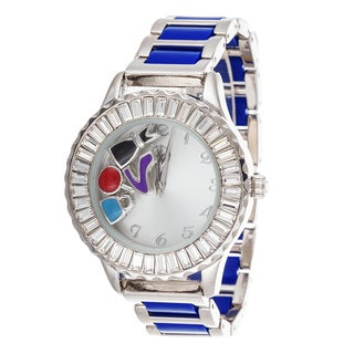 Fortune NYC Boyfriend Silver Case Baguette Crystal Ring / Navy Blue Strap Watch