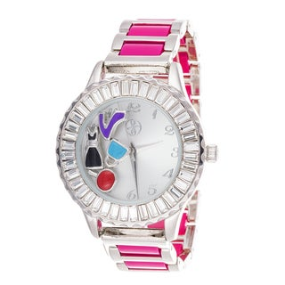 Fortune NYC Boyfriend Silver Case Baguette Crystal Ring / Pink Strap Watch