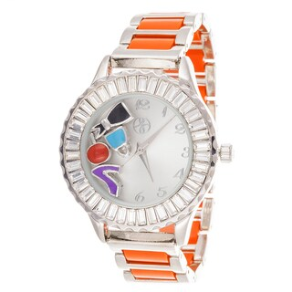 Fortune NYC Boyfriend Silver Case Baguette Crystal Ring / Orange Strap Watch