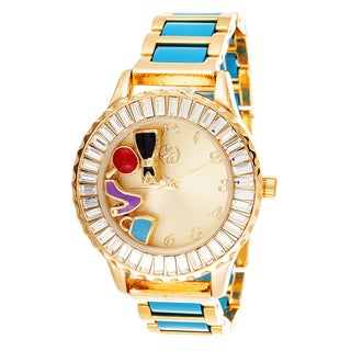 Fortune NYC Boyfriend Gold Case Baguette Crystal Ring / Turquoise Strap Watch