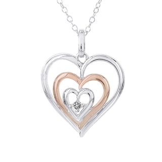 H Star Sterling Silver and Rose-plated Diamond Accent Triple Heart Necklace (I-J, I2-I3)