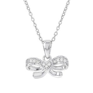 H Star Sterling Silver Diamond Accent Bow with Heart 18-inch Necklace (H-I, I1-I2)