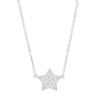 H Star 14k White Gold 1/10ct TDW Diamond Star Necklace (H-I, I1-I2)