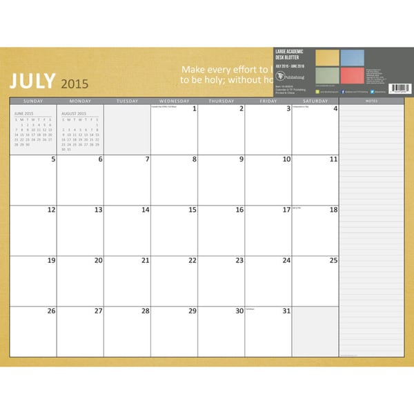 22 Inch Bible Verse July 2015 June 2016 Desk Blotter