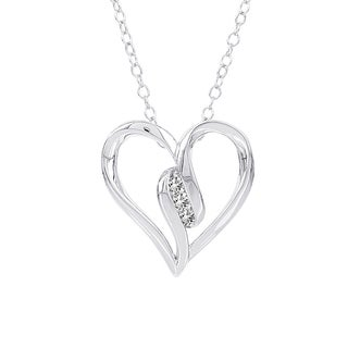 H Star Sterling Silver Diamond Accent 3-stone Heart Necklace (I-J, I2-I3)