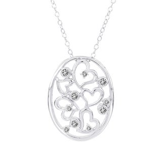 H Star Sterling Silver 1/4ct TDW Diamond Oval With Hearts Necklace (I-J, I2-I3)