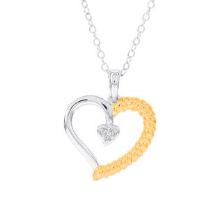 H Star Goldplated Sterling Silver Diamond Accent Heart Necklace (H-I, I1-I2)