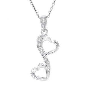 H Star Sterling Silver Diamond Accent Heart Necklace (H-I, I1-I2)