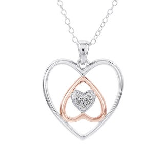 H Star Sterling Silver and Rose-plated Diamond Accent Inverted Hearts Necklace (I-J, I2-I3)