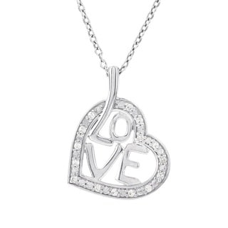 H Star Sterling Silver 1/6ct TDW Diamond Love Heart Necklace (H-I, I1-I2)