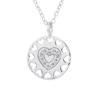 H Star Sterling Silver 1/10ct TDW Diamond Heart Medallion Necklace (I-J, I2-I3)