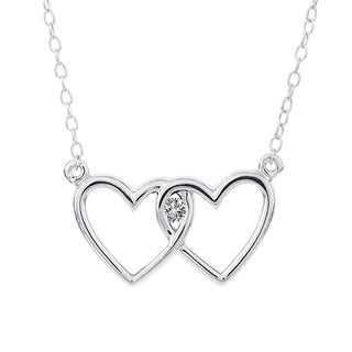 H Star Sterling Silver Diamond Accent Heart Necklace (I-J, I2-I3)