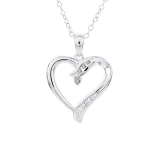 H Star Sterling Silver 1/10ct TDW Diamond Heart Necklace (I-J, I2-I3)