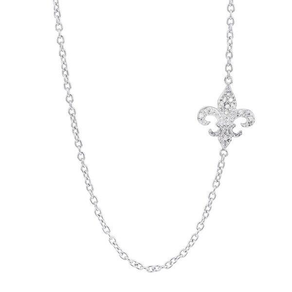 H Star Sterling Silver Diamond Accent Sideways Fleur de Lis Necklace