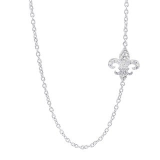 H Star Sterling Silver Diamond Accent Sideways Fleur de Lis Necklace (H-I, I1-I2)
