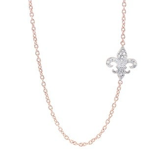 H Star Rose-plated Sterling Silver Diamond Accent Sideways Fleur de Lis Necklace (H-I, I1-I2)