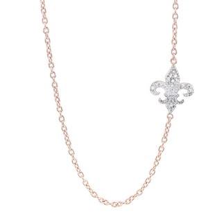 H Star Rose-plated Sterling Silver Diamond Accent Sideways Fleur de Lis Necklace (H-I, I1-I2)