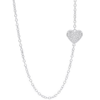 H Star Sterling Silver 1/10ct TDW Diamond Sideways Heart Necklace (H-I, I1-I2)