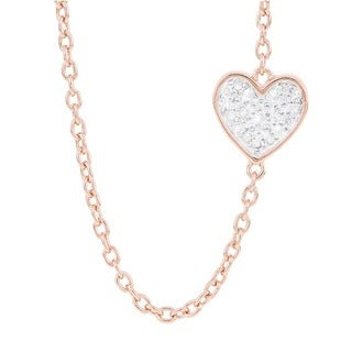 H Star Rose-plated Sterling Silver 1/10ct TDW Diamond Sideways Heart Necklace (H-I, I1-I2)