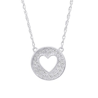 H Star Sterling Silver 1/6ct TDW Diamond Heart in Circle Adjustable Necklace (H-I, I1-I2)