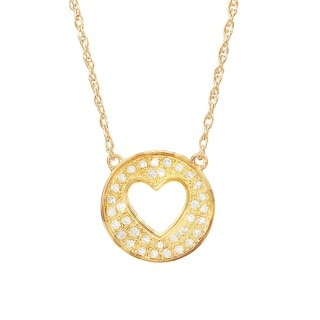 H Star Goldplated Sterling Silver 1/6ct TDW Diamond Heart in Circle Adjustable Necklace (H-I, I1-I2)