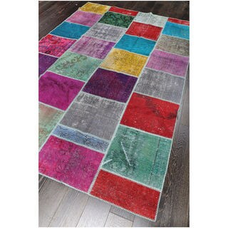 Vintage Patchwork Overdyed Wool Rug (6.6 x 9.10)