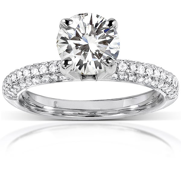 Annello by Kobelli 14k White Gold 2 1/6ct TGW Round-cut Moissanite (HI) and Diamond Micro-pave Engagement Ring