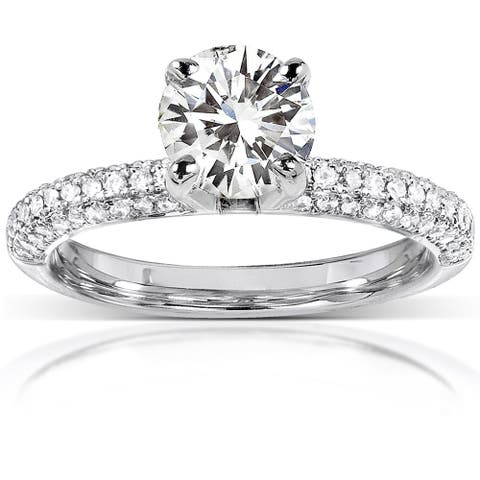 Annello by Kobelli 14k White Gold 1 3/4ct TGW Round-cut Moissanite and Diamond Micro-pave Engagement Ring