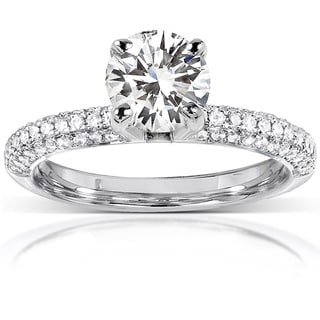 Annello 14k Gold Round-cut Moissanite and 1/4ct TDW Micro Pave Diamond Engagement Ring (G-H, I1-I2)