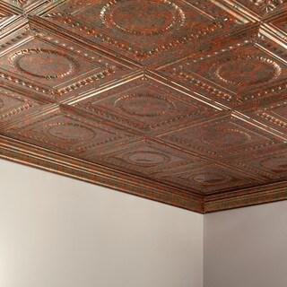 Fasade Rosette Copper Fantasy 2-foot x 4-foot Glue-up Ceiling Tile
