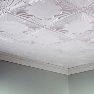 Fasade Art Deco Gloss White 2 ft. x 4 ft. Glue-up Ceiling Tile
