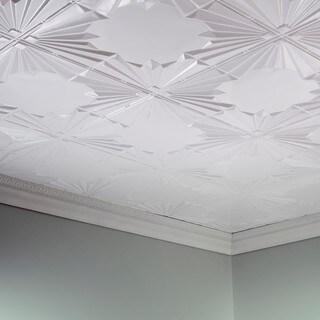 Fasade Art Deco Gloss White 2 ft. x 4 ft. Glue-up Ceiling Tile