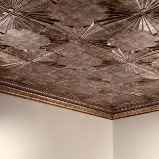Fasade Art Deco Bermuda Bronze 2 ft. x 4 ft. Glue-up Ceiling Tile