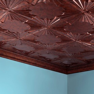 Fasade Art Deco Moonstone Copper 2 ft. x 4 ft. Glue-up Ceiling Tile