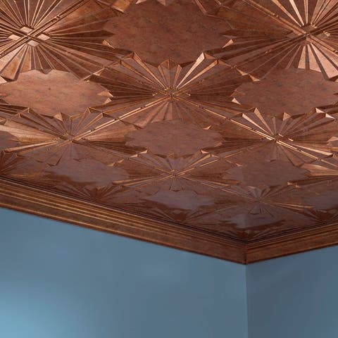 Fasade Art Deco Muted Gold 2 ft. x 4 ft. Glue-up Ceiling Tile