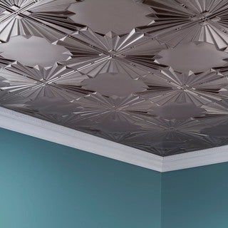 Fasade Art Deco Brushed Nickel 2 ft. x 4 ft. Glue-up Ceiling Tile