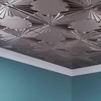 Fasade Art Deco Brushed Nickel 2 ft. x 4 ft. Glue-up Ceiling Tile