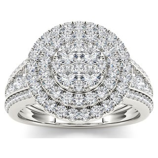 De Couer 10k White Gold 1 1/2ct TDW Diamond Double Halo Ring - White H-I