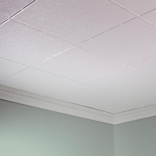fasade hammered matte white 2 ft x 4 ft glue up ceiling tile - Glue Up Ceiling Tiles