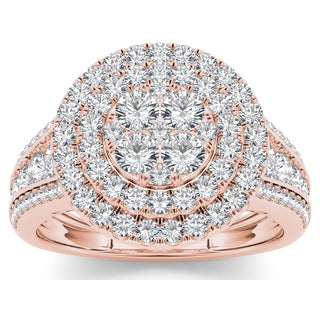 De Couer 10k Rose Gold 1 1/2ct TDW Diamond Double Halo Ring (H-I, I2)