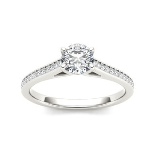 De Couer 14k White Gold 1/2ct TDW Diamond Classic Engagement Ring - White H-I