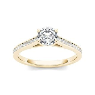 De Couer 14k Yellow Gold 1/2ct TDW Diamond Classic Engagement Ring (H-I, I2)