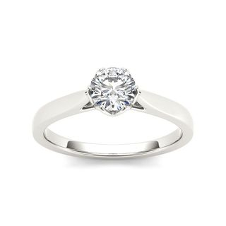 De Couer 14k White Gold 3/4ct TDW Diamond Exquisite Engagement Ring (H-I, I2)