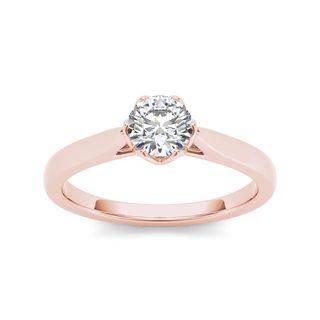 De Couer 14k Rose Gold 3/4ct TDW Diamond Exquisite Engagement Ring - Pink