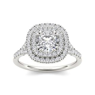 De Couer 14k White Gold 1 1/4ct TDW Diamond Double Halo Engagement Ring (H-I, I2)