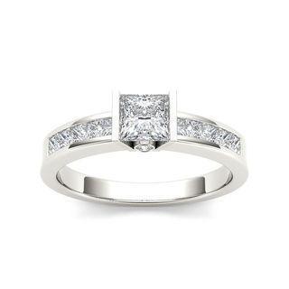 De Couer 14k White Gold 1ct TDW Diamond Princess-cut Half-Bezel Engagement Ring