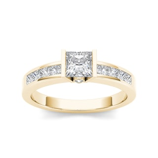 De Couer 14k Yellow Gold 1ct TDW Diamond Princess-cut Half-Bezel Engagement Ring
